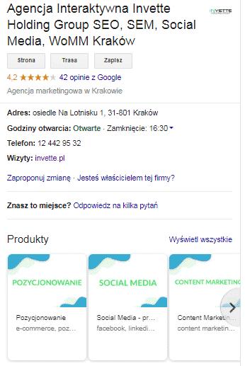 wizytówka GOOGLE MOJEFIRMA